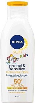 Nivea Sun Leche Solar para Niños Sensitive Niños Factor Protección Solar 50+ Kids 200 Mililitros
