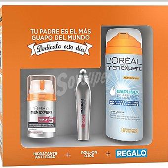L'Oréal Men Expert Pack Energía con cuidado hidratante anti-fatiga frasco 50 ml + roll-on ojos + regalo de espuma de afeitar anti-irritación hydra energetic Spray 200 ml