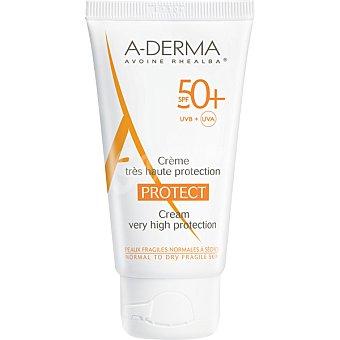 A-derma protect crema con protección solar facial SPF50+ para las pieles frágiles normales a secas  tubo 40 ml