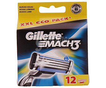 Gillette Recambio de maquinilla de afeitar Mach 3 Estuche 12 unidades