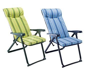 Auchan Sillón plegable con 6 posiciones para camping y playa. Fabricada en aluminio, tubo oval de 4x2 centimetros, con asiento de tela acolchado de 5 centímetros y posabrazos liso 1 unidad