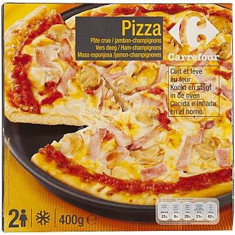 Carrefour Pizza masa esponjosa jamón y champiñones 400 g
