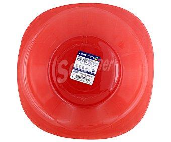 LUMINARC Plato hondo modelo Carina Colors de 20.5 centímetros, fabricado en vidrio templado de color rojo y diseño cuadrado con bordes redondeados 1 Unidad