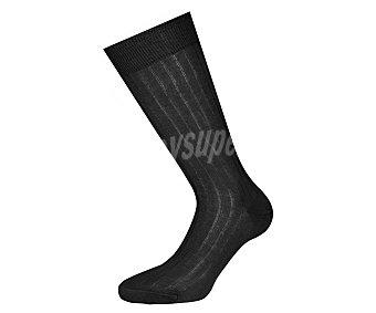 DON POSETS Calcetín de hilo de Escocia con canalé, color negro, talla 43/46