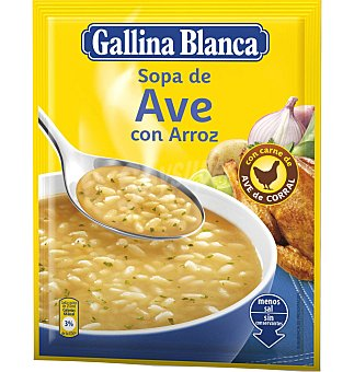 Gallina Blanca Sopa ave con arroz 85 GRS