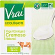 Yogur biologico cremoso natural Pack 4 unidades 100 g Vrai