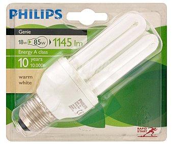 PHILIPS Genie Bombilla bajo consumo tubo 18 Watios, casquillo E27 (grueso), luz cálida 1 unidad