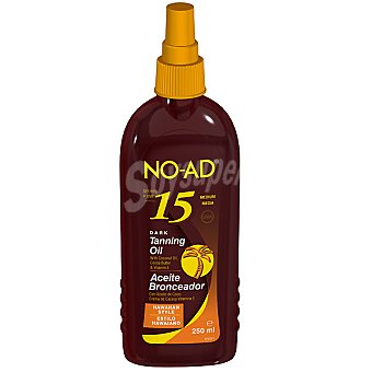 NO-AD Aceite bronceador con aceite de coco crema de cacao y vitamina E FP-15 estilo Hawaiano spray 250 ml