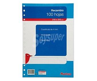 Auchan Recambio tamaño folio, con cuadricula de 4x4 milímetros, multitaladro, 100 hojas de 80 gramos 1 unidad
