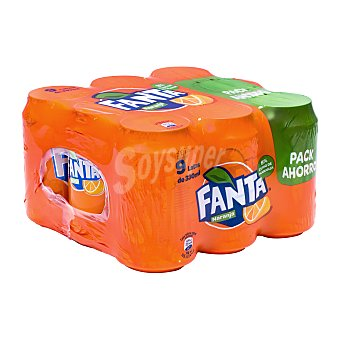 Fanta Refresco naranja con gas Lata pack 9 x 33 cl