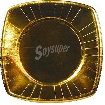 PAP STAR platos cartón oro angular 26x26 cm  paquete 8 unidades