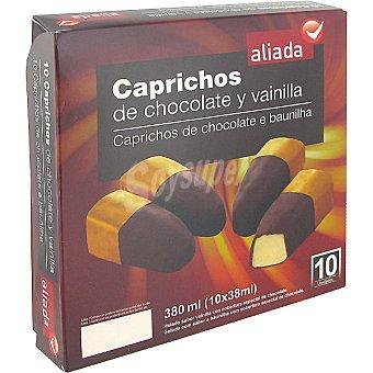 Aliada Caprichos con helado de vainilla y cobertura de chocolate Estuche 380 ml