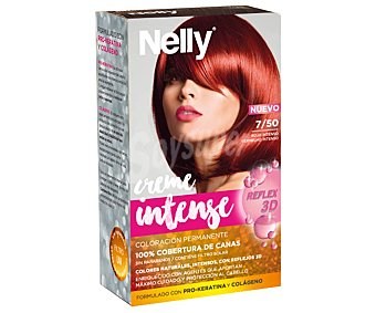 Nelly Tinte de pelo color rojo intenso, tono 7/50 Creme intense