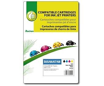 Productos Económicos Alcampo Cartucho color+negro TO891/2/3/4 (E65/66/67/68) - Compatible con impresoras: stylus S21 / SX1000 / SX105 / SX110 / SX205 / SX210 / SX405 / SX410