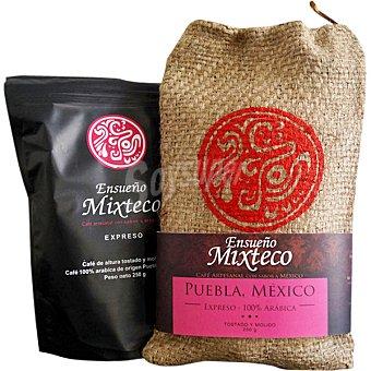 Ensueño Café tostado y molido expreso 100% Arábica artesanal de Mejico mixteco Paquete 250 g