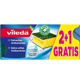 Vileda Salvauñas antibacterias verde 2+1