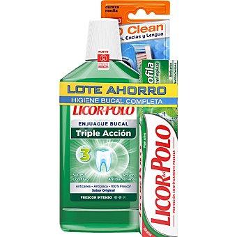 LICOR DEL POLO pack higiene bucal con enjuague bucal Triple Acción + pasta dentífrica clorofila + cepillo de dientes frasco 500 ml