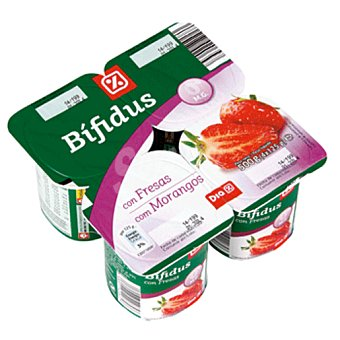DIA Yogur bífidus con fresa 0% Pack 4 unidades 125 g