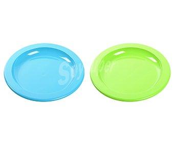 EDA Plato llano de 23 centímetros, fabricado en plástico azul o verde 1 unidad