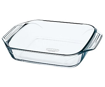 PYREX Fuente rectangular fabricada en vidrio borosilicato, 39x25 centímetros, apta para horno, microondas y lavavajillas, modelo Optimum 1 unidad