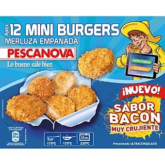 Pescanova Mini burguers de merluza empanada sabor bacon 12 unidades aprox bolsa 360 g 12 unidades