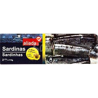 Aliada Sardinas en aceite de girasol neto escurrido Pack 2 lata 80 g