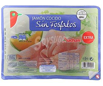 Auchan Jamón Cocido Extra Sin Fosfatos 200 gramos