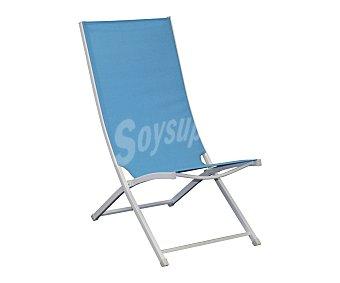 HP Silla plegable y reclinable para camping y playa. Fabricada en tubo de acero pulverizado de color blanco, con asiento y respaldo de textileno de color azul y medidas 82x51x94 centímetros 1 unidad
