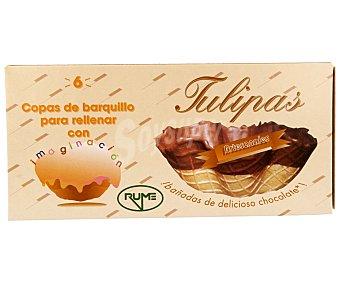 Rume Tulipas de barquillo bañadas en chocolate 6 unidades 100 gramos