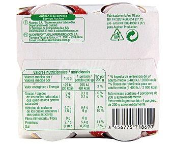 Auchan Yogur líquido 0% materia grasa con sabor a fresa 4 unidades de 200 gramos
