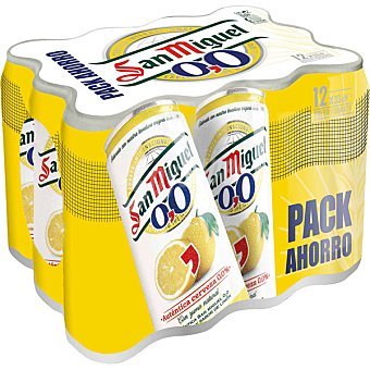 San Miguel Cerveza sin alcohol con zumo natural de limón pack 12 latas 33 cl