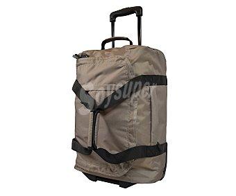AIRPORT Bolsa de viaje multibolsillos con ruedas, de color crema, con las asas en color en negro, tirador telescópico abatible y medidas de 36x20x54 centímetros AIRPORT 54cm