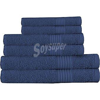 CASACTUAL juego de 6 toallas lisas en color azul marino