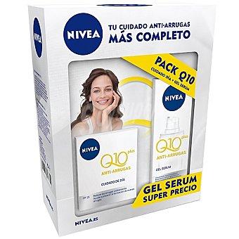 Nivea Pack Q-10 plus compuesto por crema anti-arrugas cuidado de día FP-15 tarro 50 ml + gel serum frasco 30 ml Tarro 50 ml