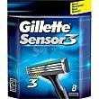 Cargador de afeitar 3 Pack 8 unid Gillette Sensor