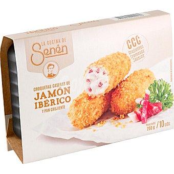 LA COCINA DE SENEN croquetas caseras de jamón ibérico y pan crujiente bandeja 250 g 10 unidades