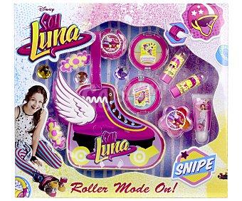 Disney Bolsa de aseo con forma de patín, incluye pintalabios, brillos y sombras de ojos Soy Luna 1 unidad