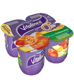 Vitalínea Danone Yogur desnatado con melocotón Pack de 4x125 g