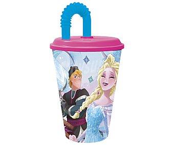 Disney Frozen Vaso infantil con tapa y pajita, diseño Frozen, 0,43 litros, disney. 0,43 litros