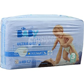 Carrefour Baby Pañales ultra dry T3 (4kg.-9kg) 49 ud