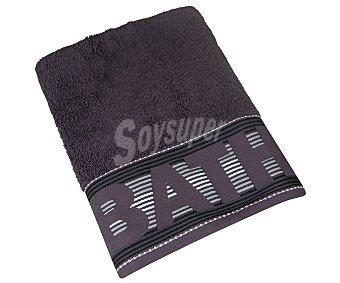 Actuel Toalla de ducha 100% algodón color gris oscuro con cenefa jacquard Bath de rayas, /m², actuel 450 g