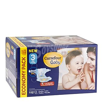Carrefour Baby Pañal con elástico T3 de 4-9 kg 112 ud