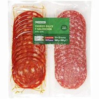 Eroski Bipack chorizo dulce-salchichón Pack 2x100 g