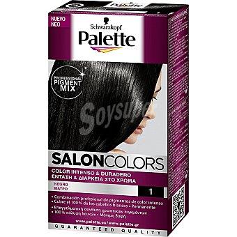 Palette Schwarzkopf tinte nº 1 Negro color intenso y duradero Salon Colors caja 1 unidad