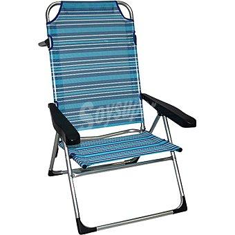 Casactual Silla de playa con varias posiciones que se convierte en hamaca a rayas azules