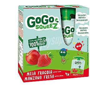 Gogo Squeez Manzana y fresa trituradas Pack 4 uds, x 90 g