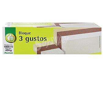 Productos Económicos Alcampo Helado 3 sabores vainilla, chocolate y nata 1 litro