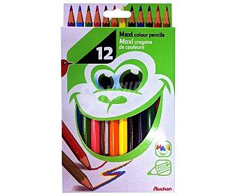 Auchan Caja de lápices de colores de tamaño maxi 12 unidades