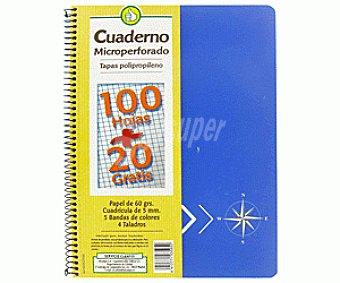Productos Económicos Alcampo Cuaderno Microperforado A4 120 Hojas ,CLD5. Tapa Polipropileno 1 Unidad