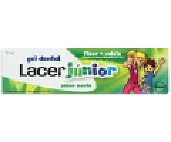 LACER Junior Dentífrico gel con flúor y calcio ,sabor menta , 75 Mililitros